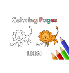 Cartoon lion coloring book vector