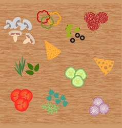 Cheese and pizza ingredients on wood background vector