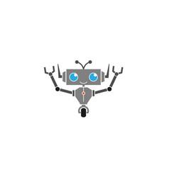 creative abstract happy gray robot logo vector image
