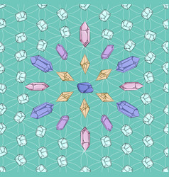 Crystals and diamonds pattern vector