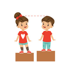 Cute boy and girl rejoice together while standing vector