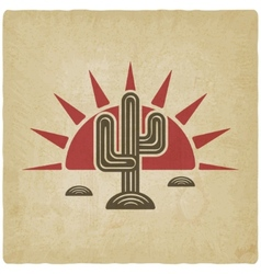Desert cactus at sunset old background vector