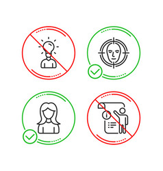 Education woman and face detect icons set manual vector