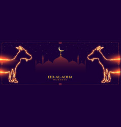 Eid al adha bakrid mubarak islamic festival banner vector
