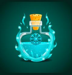 elixir bottle with snowflake in magic smoke vector image