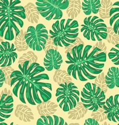 Exotic seamless pattern with monstera leaves vector
