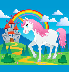 fairy tale unicorn theme image 2 vector image