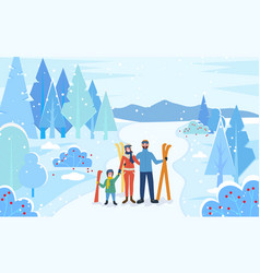 family stand with skis in forest winter skiing vector image