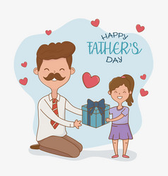 father and daughter characters card vector image