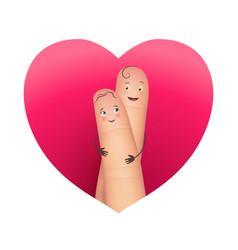 finger copule in love hugging vector image