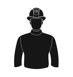 firefighterprofessions single icon in black style vector image