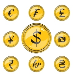 Flat Coins with Currency Symbols vector