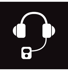 Flat icon in black and white style headphones vector