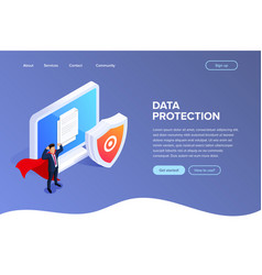 flat isometric database protection concept vector image