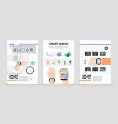 flat smart watch posters vector image