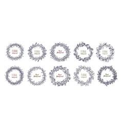 Floral round wreaths set hand drawn frames vector
