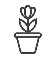 flower in pot line icon plant and decor vector image
