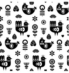 folk art seamless pattern with birds and vector image
