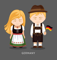 germans in national dress with a flag vector image