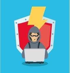 Hacker and security system design vector