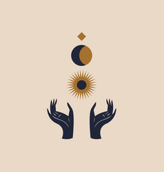 hands holding moon and sun sacred geometry magic vector image