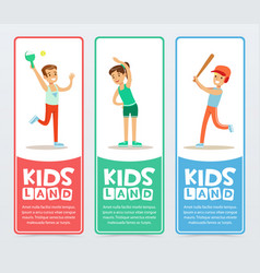 Happy kids playing different sports kids land vector