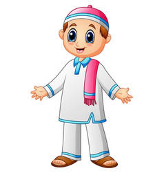 happy muslim kid with pink scarf and pink cap pres vector image