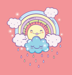 happy sun with rainbow and fluffy clouds vector image
