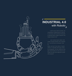 Industrial 40 with robot concept robotic hand vector