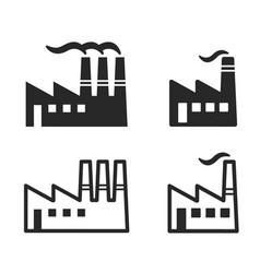 Industrial factory logos silhouettes vector