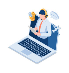 Isometric male technical support operator vector