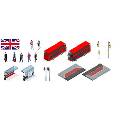 isometric set of london double decker red bus and vector image