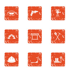 Land development icons set grunge style vector