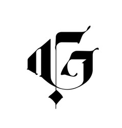 Letter g in gothic style alphabet the symbol vector