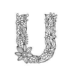 Letter U coloring book for adults vector