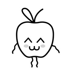 Line kawaii cute tender apple fruit vector