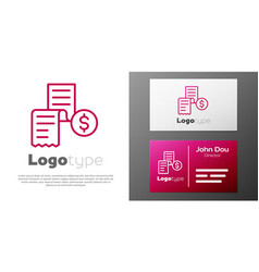 Logotype line paper or financial check icon vector