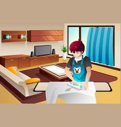 Man ironing vector