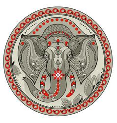 Medallion with indian elephant head coin vector