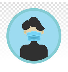 Men wear mouth masks or face mask - flat icon vector