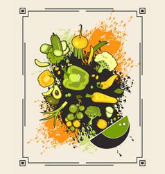 menu set of vegetables vector image