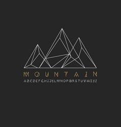mountain line icon outline logo vector image