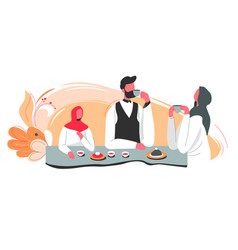 muslim family at home drinking tea and talking vector image