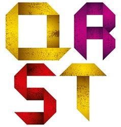 Origami alphabet letters Q R S T vector