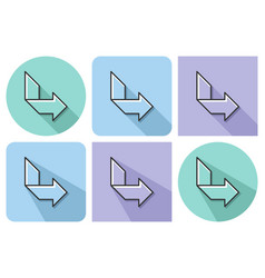 outlined icon of orthogonally curved arrow with vector image