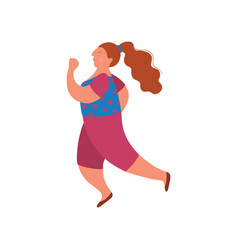 plump young woman running in casual clothes vector image