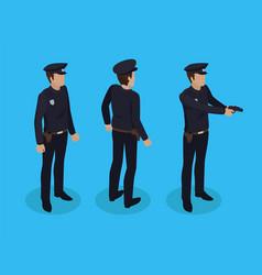 Police worker policeman set vector