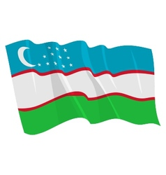 political waving flag of uzbekistan vector image
