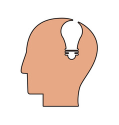 Profile head idea light icon vector