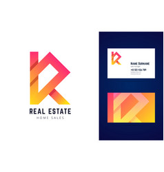 real estate home sales logo and business card vector image